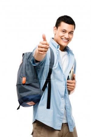 asiatische college student glücklich Daumen nach oben