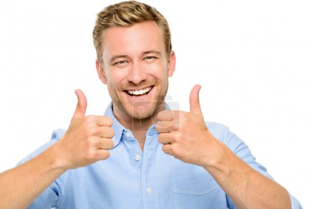 Happy man thumbs up sign full length portrait on white backgroun