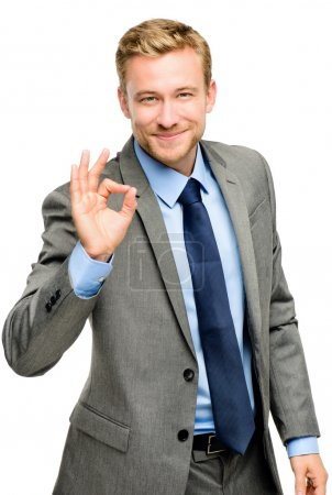 Photo for Happy businessman man okay sign - portrait on white background - Royalty Free Image