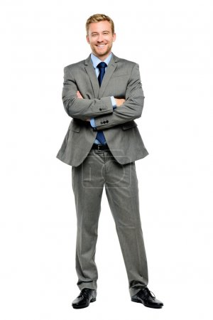 Happy businessman arms folded isolated on white