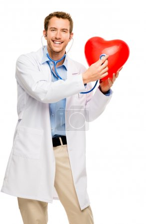 doctor holding heart white background