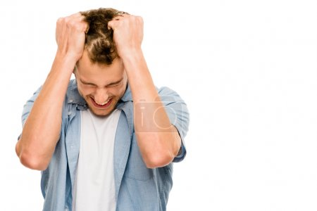 stressed man upset frastrated white background