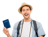 Happy young tourist travel passport isolated white background