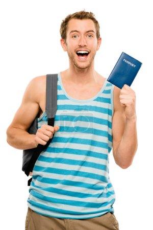 happy tourist man travel passport adventure