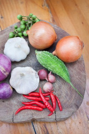 Photo for Thai hurb for Thai cooking on wood background - Royalty Free Image