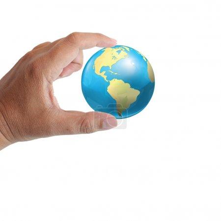Photo pour Main avec terre sur fond blanc - image libre de droit