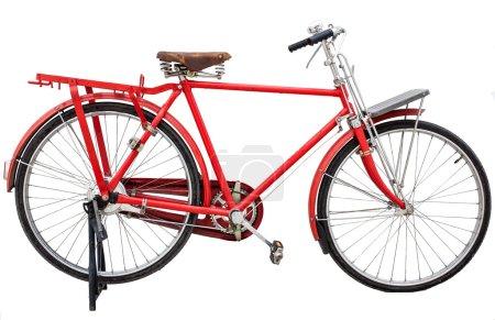 Photo pour Vélo vintage rouge isolé sur fond blanc - image libre de droit