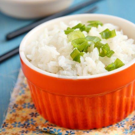 Photo pour Bol de riz cuit avec des oignons verts - image libre de droit