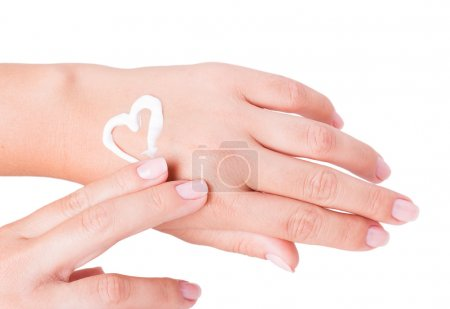 Photo pour Crème pour les mains isolée sur fond blanc - image libre de droit