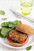 Vegan burger with spinach