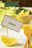 Bright and sunny table setting with a name tag