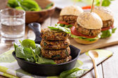 Vegan burgers with beans and vegetables