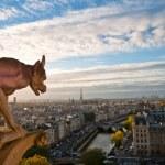 Gargoyle overlooking Paris up on Notre Dame de Par...