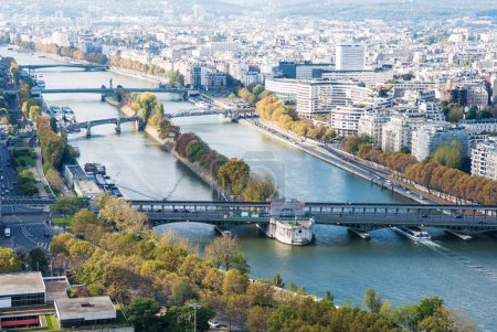 Aerial view of Paris. Seine river. Autumn.