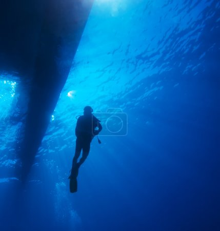 Scuba Diver with Sun Rays