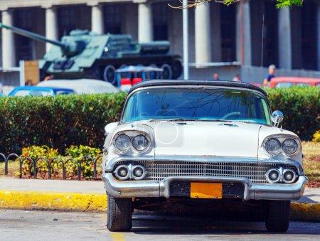 Vintage White Car near Revolution Museum, Havana