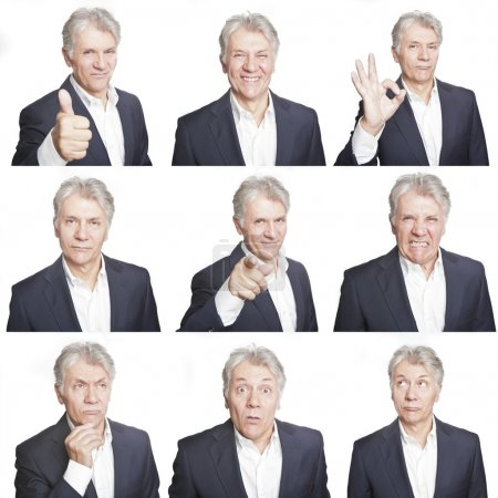 Photo for Mature man face expressions composite isolated on white background - Royalty Free Image