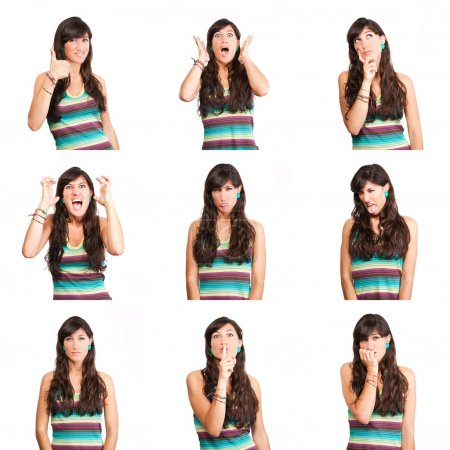 Photo pour Collage de femmes différentes expressions faciales . - image libre de droit