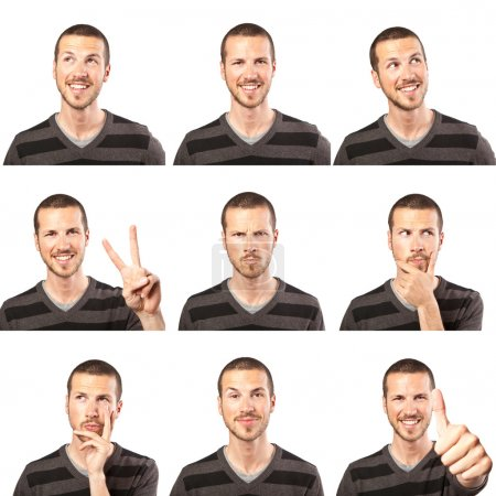 Photo for Young man face expressions composite isolated on white background - Royalty Free Image