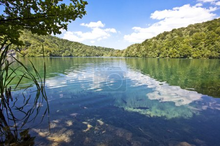 Plitvice lakes national park in Croatia, nature travel backgroun