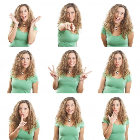 Photo for Young woman face expressions composite isolated on white background - Royalty Free Image