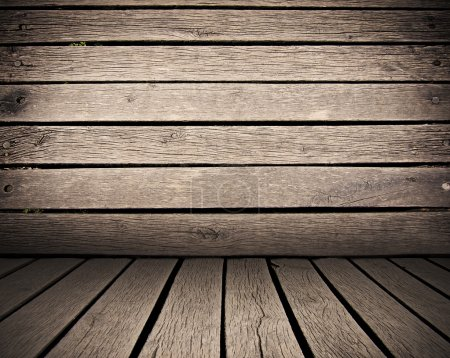 Photo for Wooden planks interior background, wood floor and wall - Royalty Free Image
