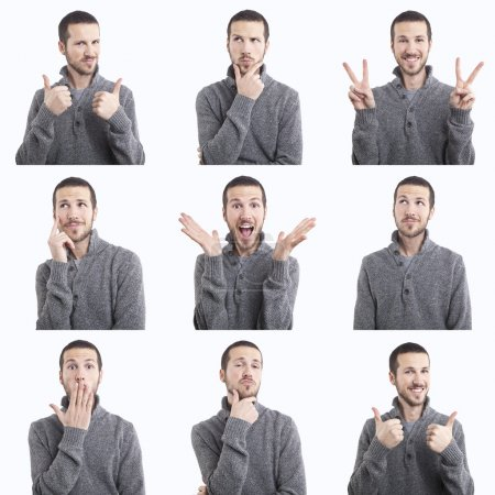 Photo for Young man funny face expressions composite isolated on white background - Royalty Free Image