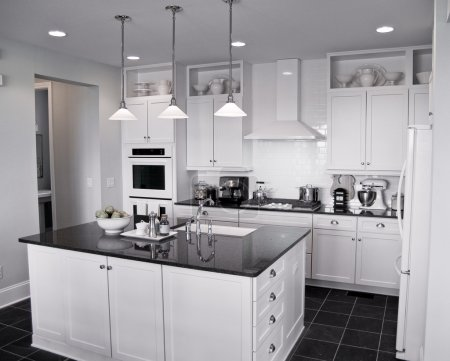 Photo for Beautiful modern kitchen with center island - Royalty Free Image