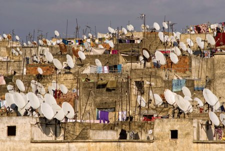 Satellites on the roofs of an ancient city of Fes....