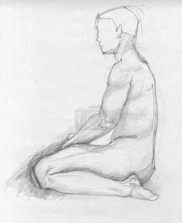 Men sitting figure sketch