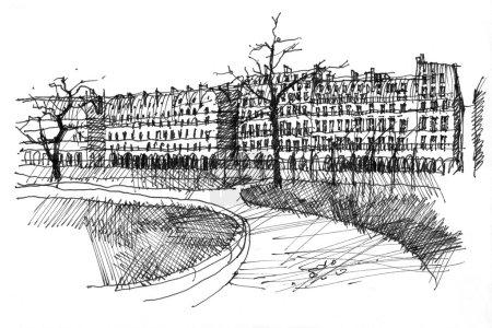 Photo pour Stylo dessin à la main noir et blanc de la rue de Rivoli à Paris, France. Vue perspective depuis le parc Tuilerie . - image libre de droit