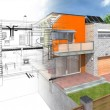 Modern house in the section with visible infrastru...