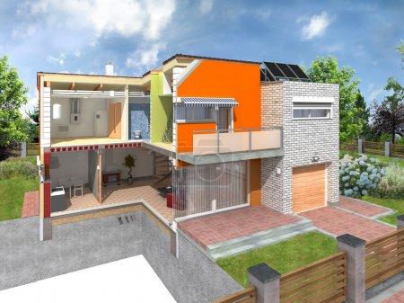 Foto de Casa moderna en la sección con infraestructura visible. Concepto de casa de eficiencia energética con diferentes tipos de materiales de construcción - Imagen libre de derechos