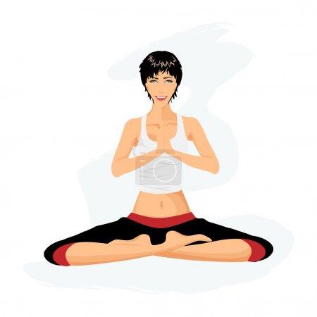 Illustration pour Belle femme à pratiquer l'yoga en posture de lotus (Padmasana) - image libre de droit