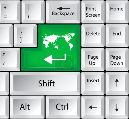 Computer Keyboard with Worldmap Key