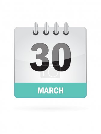 Illustration for 30 March Calendar Icon On White Background - Royalty Free Image
