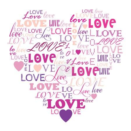Illustration pour L'amour au mot collage composé en forme de coeur - image libre de droit