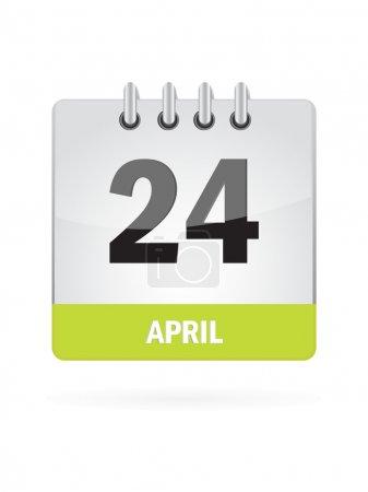 24 April Calendar Icon On White Background