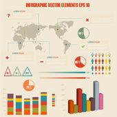 Detail infographic vektorové ilustrace. Světová mapa a informační grafika