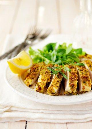 Sliced lemon herb crusted chicken breast, copy spa...