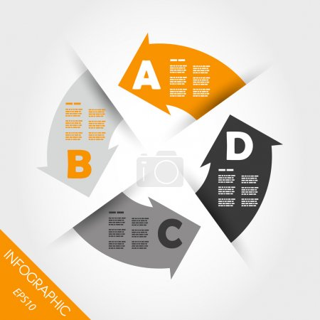 Illustration for Four orange infogrpahic arrows in circle. infographic concept. - Royalty Free Image