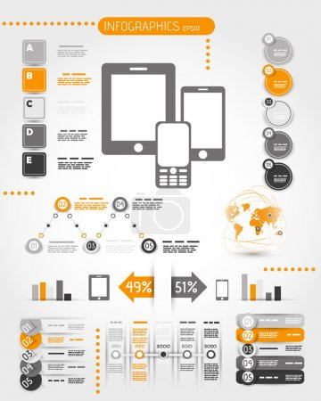 Photo pour Téléphone mobile Orange world infographie. concept infographie - image libre de droit