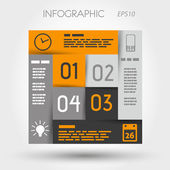 Orange and grey infographic square with business icons