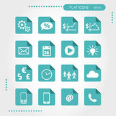 Turquoise flat business icons