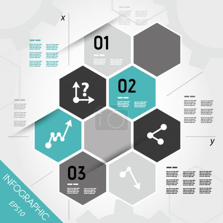 Illustration for Turquoise infographic hexagons with axis. infographic concept. - Royalty Free Image