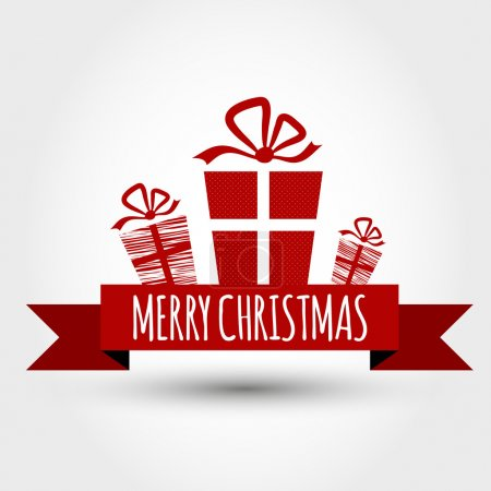 Red christmas ribbon with gifts