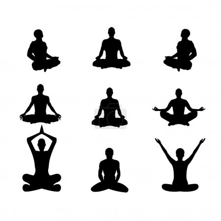 Illustration for Set of vector illustration Basic meditation Poses - Royalty Free Image