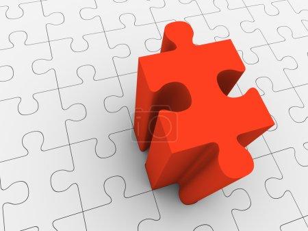 Photo pour Pièce de puzzle rouge en saillie du puzzle gris. Rendu 3d . - image libre de droit