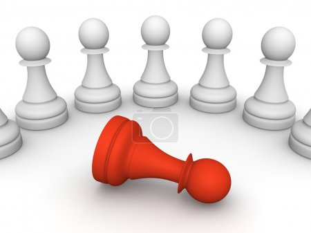 Photo for White pawns around one red pawn. - Royalty Free Image
