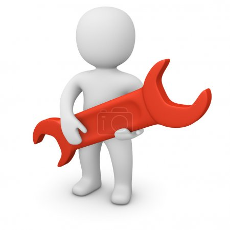 Photo for 3d man holding big red wrench. - Royalty Free Image